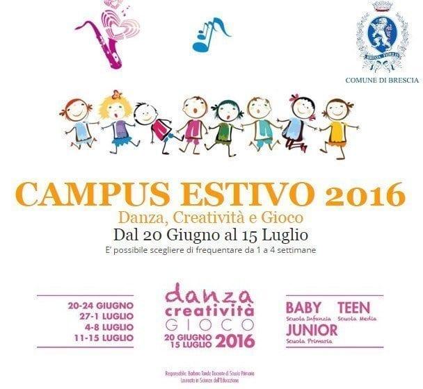 Campus Estivo 2016 Brescia, dal 20/6 al 15/7